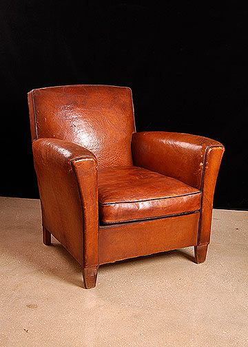 Pair Of French Vintage Square Back Leather Club Chairs