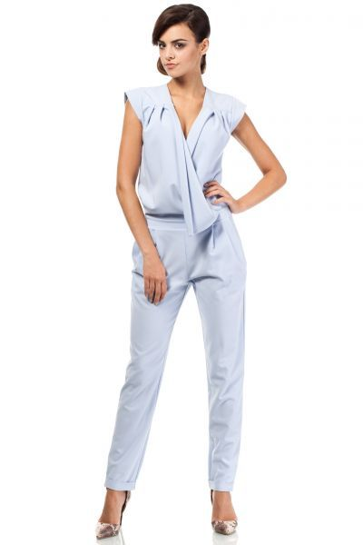 Women's long jumpsuit in shades of blue