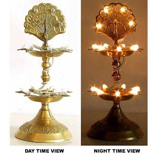 Brass Electric Lamp Diya Pair Peacock Shape