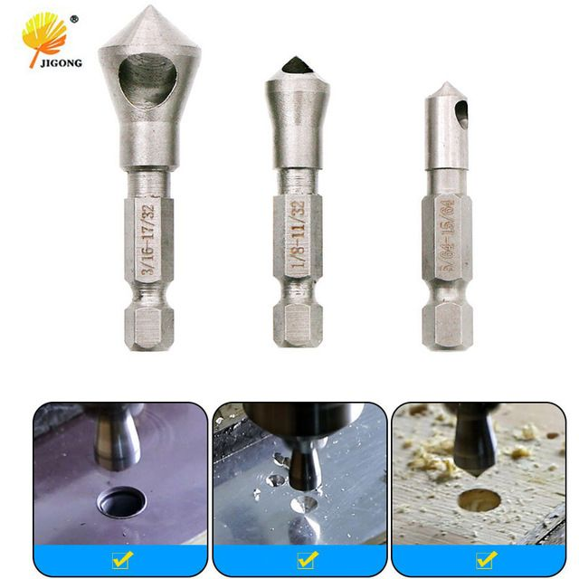 3Pcs HSS Countersink Deburring Drill Bit Metal Taper Hole Saw Cutter Chamfering