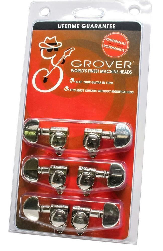 Grover Rotomatic 102n Guitar Tuners Tuning Machine Heads 3x3 Nickel Guitar Parts Grover Guitartuner Guitar Tuners Guitar Tuning Acoustic Guitar Tuner