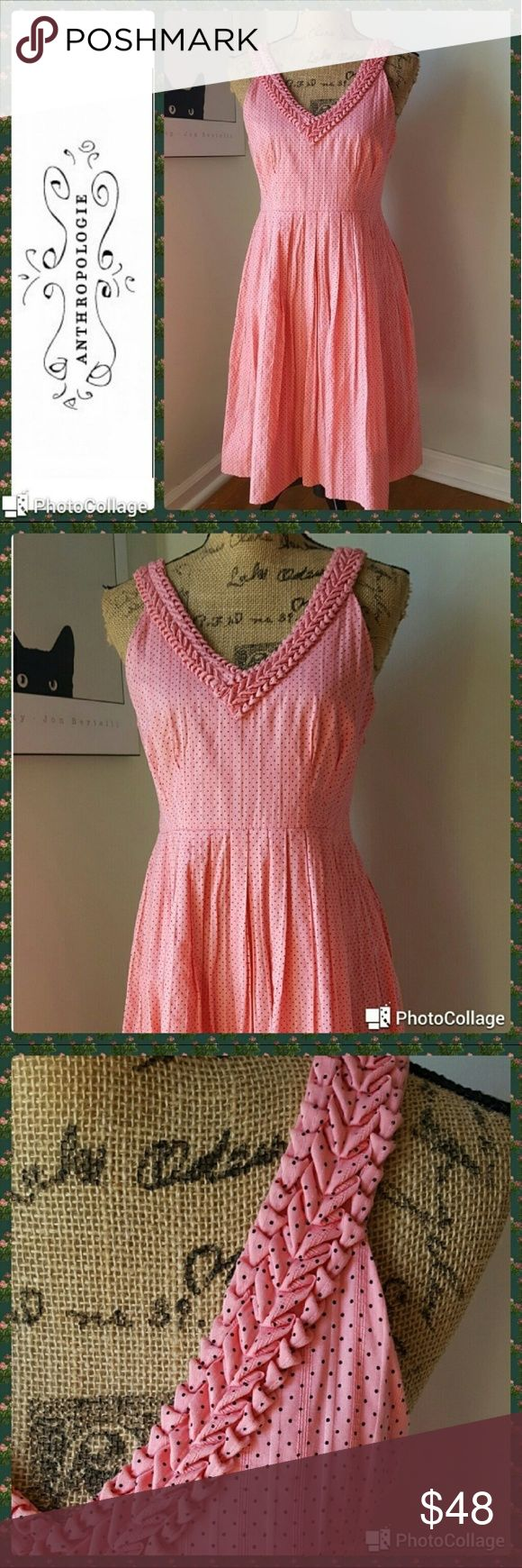 "Anthropologie Moulinette Soeurs In excellent condition.  Anthropologie Moulinette Soeurs melon ball dress. Salmon pink with black polka dots pattern.  100% cotton fit and flare style.  V-neckline with puckered detailed. Pleated skirt. Side zipper.  Completely lined.  Measurements are length 35"", bust 35"", waist 30"". Size states size 4 but fits more like a 6-8. Really adorable dress for upcoming warm weather! xxv Anthropologie Dresses"