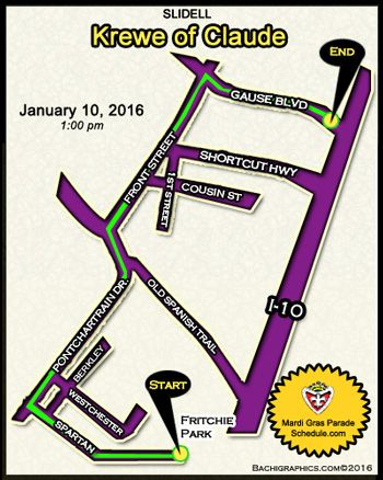 2016 Krewe of Claude – Slidell, LA Mardi Gras Parade Schedule 2016
