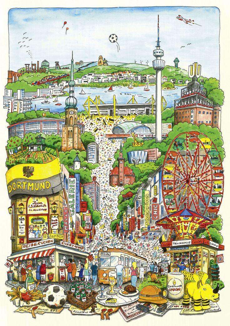 Ein Bild so bunt und lebendig wie unsere Stadt mit Feiern, Freizeit, Shopping, Fußball und Vergnügen. Mit der Geschichte der Stadt, Schrebergarten, Eckkneipe, Bude, Frikadellen, Reibekuchen und Dortmunder Bier, alles was das Leben in der größten und schönsten Stadt des Ruhrgebiets so lebenswert macht ist hier fröhlich vereint. Poster, Din A1 (ca. 60 x 84 cm) Offsetdruck auf hochwertigem Papier (170g/qm) Preis inkl. Versand in einer schützenden Spezialverpackung Lieferzeit 2-3 Tage