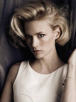 "January Jones.  such great ""bombshell"" hair."