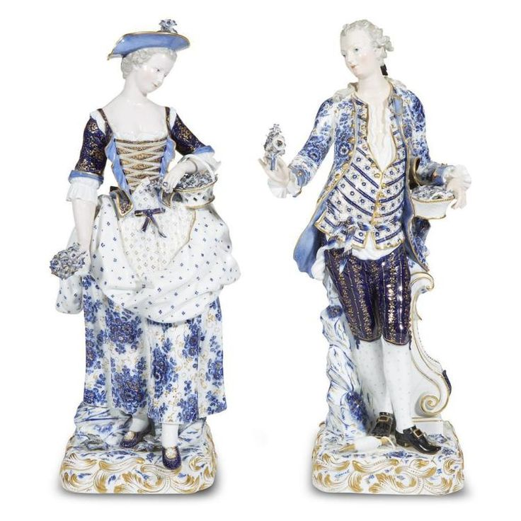 A monumental pair of Meissen porcelain figures of a gallant