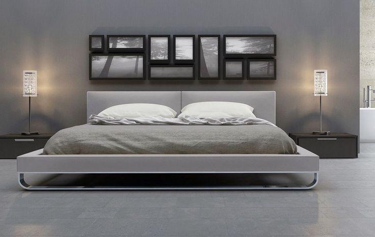 Luxary King Queen Size Platform Bed Frame w/ Headboard Furniture Modern Bedroom #Modern