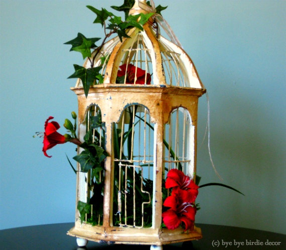 Shabby Chic Decor, Light Yellow Wood Decorative Bird Cage