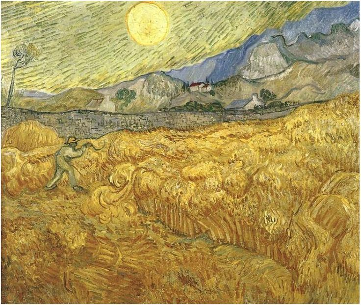 Wheat Field Behind Saint-Paul Hospital with a Reaper ...