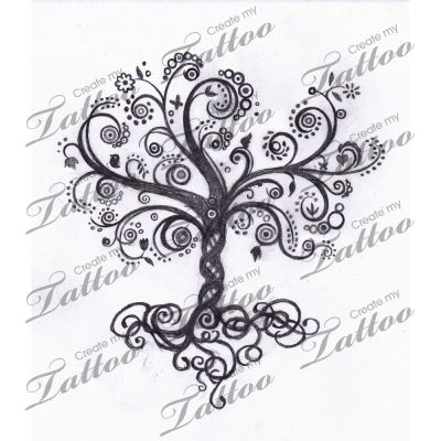 Tree of Life Tattoos for Women | Whimsical Tree Of Life Swirly Createmytattoocom