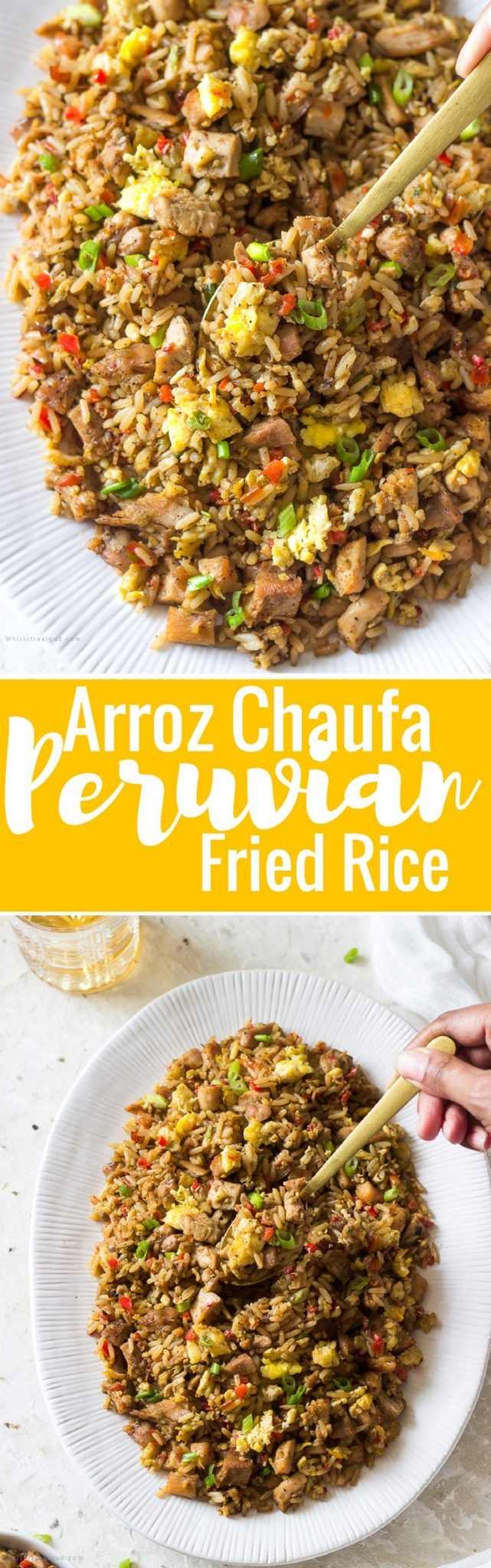 Arroz Chaufa is Peruvian's version of Chinese fried rice. It is influenced by the influx of Chinese immigrants to Peru. Peru's fried rice version consists of rice, sweet peppers, green onions, onions, garlic, soy sauce, scrambled eggs chicken and a dash of sesame oil, ginger and cumin. Amazingly delicious and you probably already have all the ingredients to make this!
