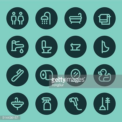 Vector Art : Bathroom icons - Line - Circle