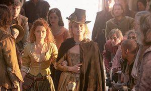 Still from TV drama Jamestown: men eye up potential wives