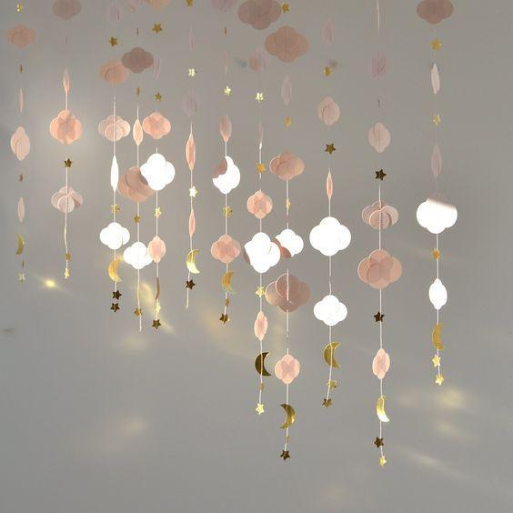Image of Guirlande nuage rose poudré et doré métallisé