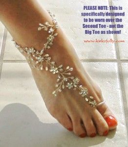 "Kirks Folly - Product Details  Barefoot Bride Ankle Bracelet from ""Kaena's Seaview Fairyland Wedding"" where the bride wore these ankle bracelets.  So elegant!"