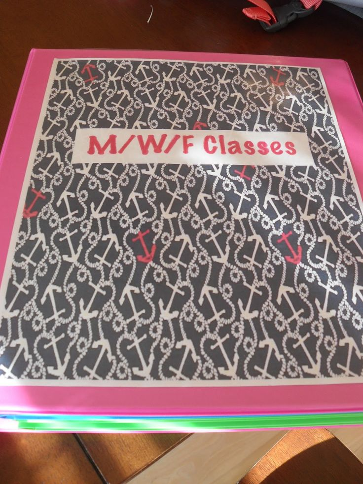 one inch binders for each class with labels of syllabus, homework, completed, notes, and course callender