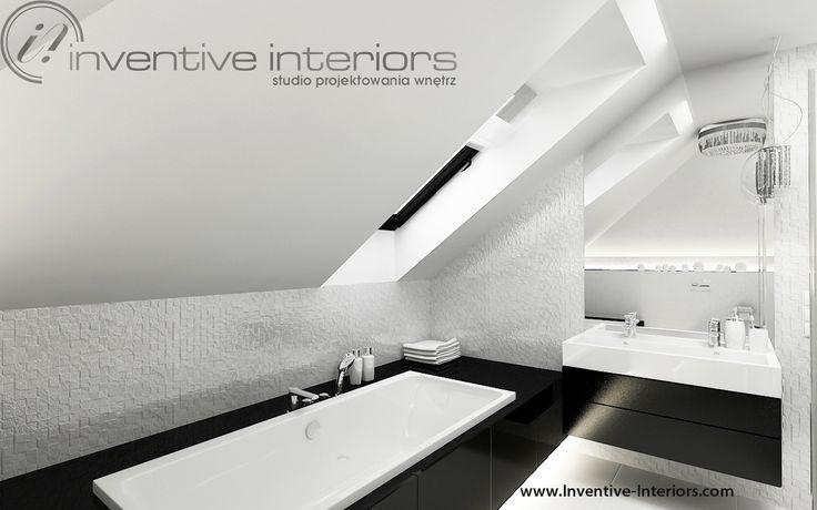 Projekt łazienki Inventive Interiors - białe płytki fakturowe w minimalistycznej łazience