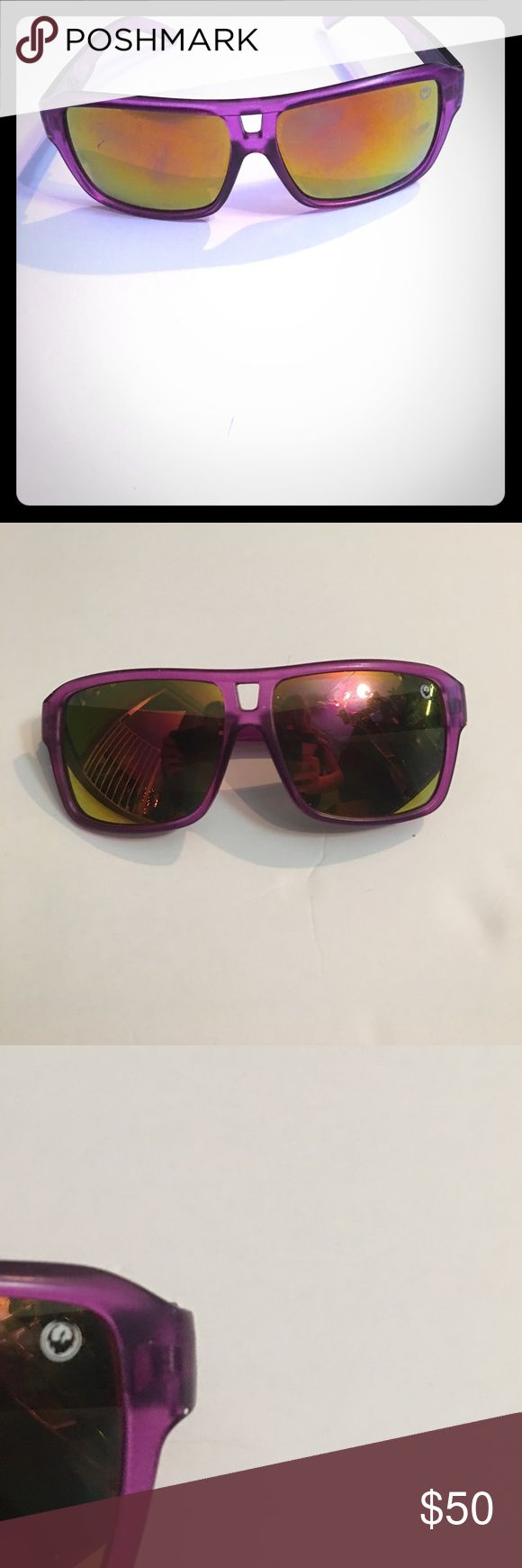 Purple dragon sunglasses unisex Purple dragon unisex sunglasses with yellow gold mirrored lenses. Authentic. Has couple scratches as shown in picture. Dragons the jam dragon Accessories Glasses