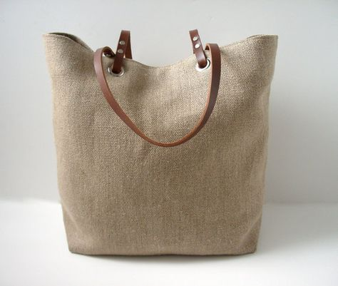 Woven Tote Bag Linen Tote Jute Tote Beach Bag por IndependentReign