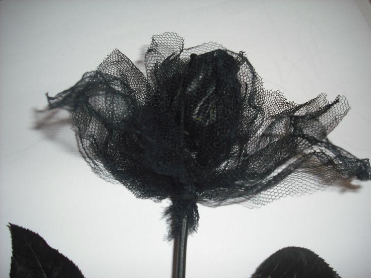 tulle and paper on real rose stem