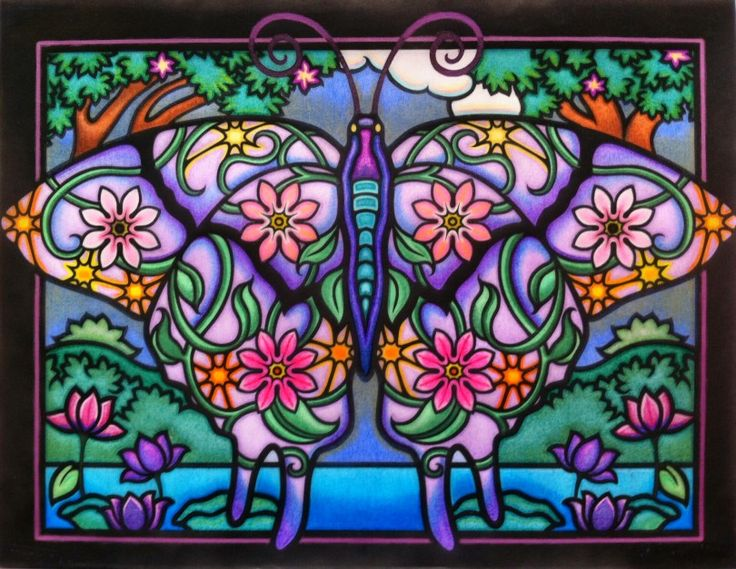 Marty Noble's Artist's Choice: Dawn Austin from Fanciful Butterflies Stained Glass Coloring Book