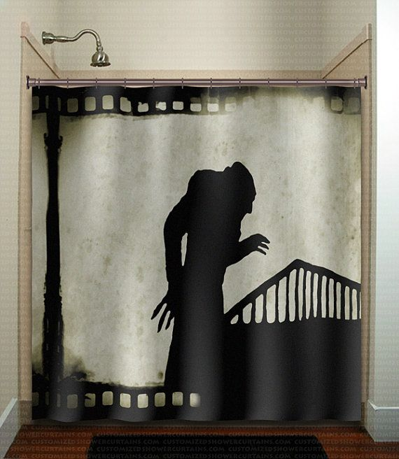 vintage film noir movie strip nosferatu shower curtain bathroom decor fabric kids bath white black custom duvet cover rug mat window on Etsy, $30.00