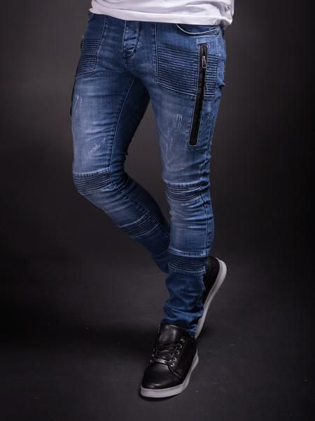 blue slim fit ripped jeans PLEASE NOTE THE LENGTH IS 33 (FOR ALL WAIST SIZES) size : W x L (Waist x Length) -97% Cotton 3% Elastan -Button Fly -SLIM FIT