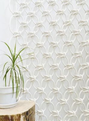 macrame with rope - what a cool way to add texture to a wall. Great for a temporary treatment!