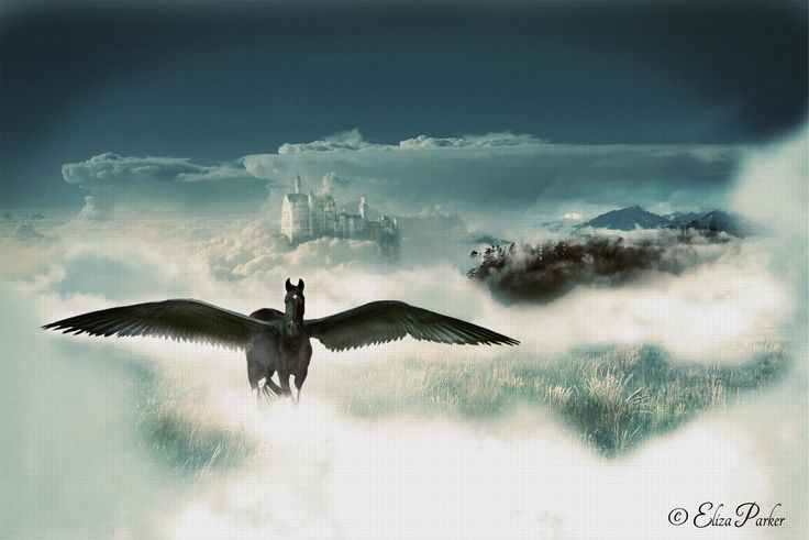 The Hidden Heaven by Eliza Parker (Fantasy Digital Art, Black Pegasus)... Close your eyes, walk into the clouds, and just when you're sure you will fall, take one more step and open them wide. Your feelings will overwhelm you as you see before you the Hidden Heaven where the Pegasus is no longer a myth, but a legend. Here they are the gatekeepers of this heaven where they protect and love their world. - Read the rest @ www.secretimpressions.com