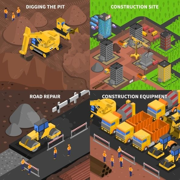 General Construction Concept Isometry by macrovector General construction conceptisometry with scenes of digging equipment site and road repair isolated vector illustration. Editable