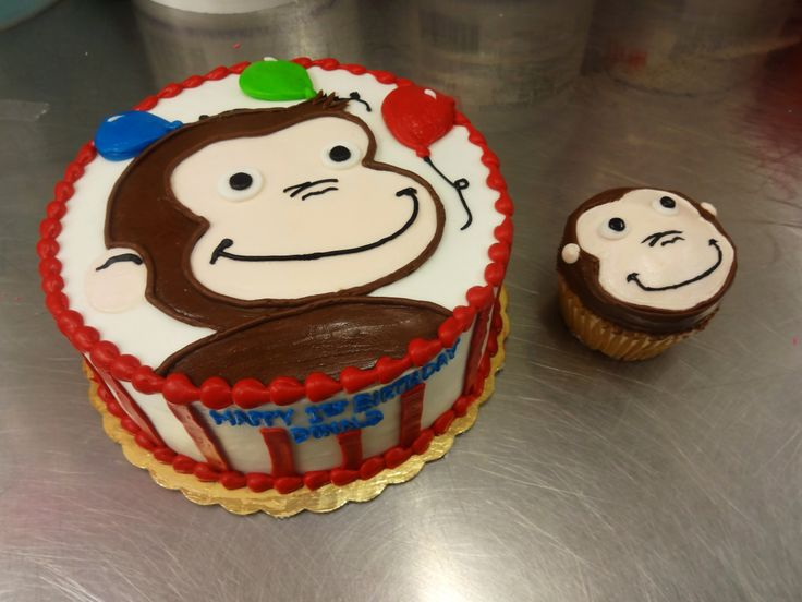 Curious George Cake - Balloons  Stripes with smash cake - Erin Miller Cakes - https://www.facebook.com/erinmillercakes