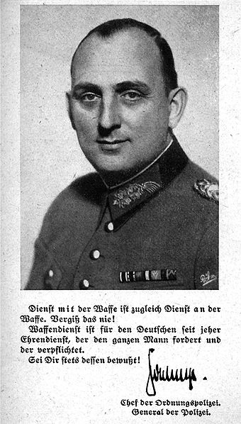 Kurt Daluege (September 15, 1897 – October 24, 1946) was a German Nazi SS-Oberst-Gruppenführer and Generaloberst der Polizei as chief of the Ordnungspolizei (Order/uniformed Police) and ruled the Protectorate Bohemia and Moravia as Deputy Protector after Reinhard Heydrich's assassination.
