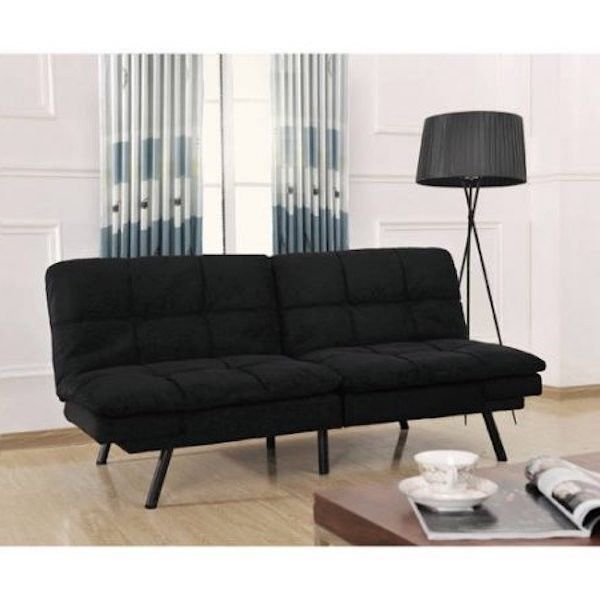 black sofa bed futon set tufted mattress adjustable sleeper couch furniture