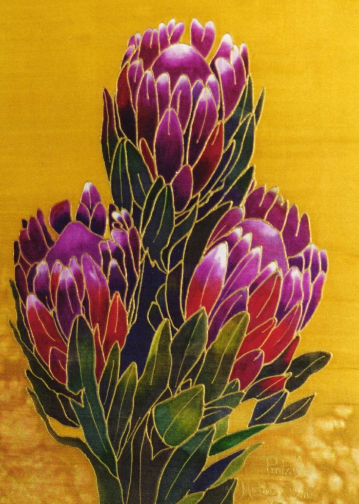 I love painting proteas on silk. (painted approx. 2004)