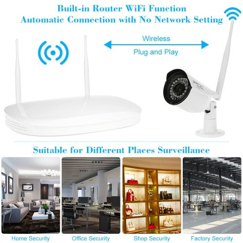 IPCC 4CH Channel HD 720P WiFi NVR Network Video Recorder + 4pcs Megapixels Wireless WiFi Weatherproof Outdoor Bullet IP Camera + 1pcs Indoor Antenna support Plug and Play HDMI P2P Cloud IR-CUT Filter Infrared Night View Android/iOS APP Motion Detection Em