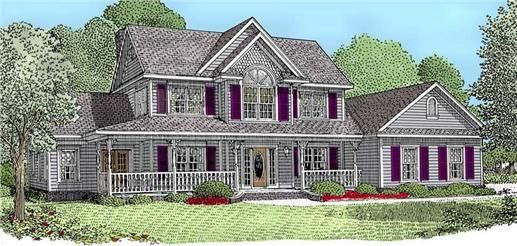 This house plan features a fireplace built ins foyer for Corner lot house plans with side load garage