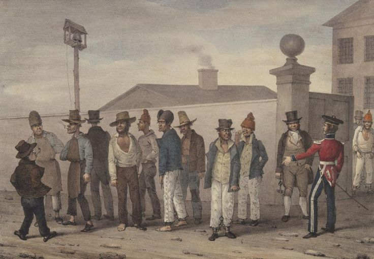 A government jail gang, Sydney, N. S. Wales by Augustus Earle, 1830. The Hyde Park Barracks can be seen in the background.