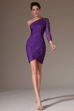eDressit 2014 New Purple One Sleeve Cocktail Dress Party Dress (03141506)