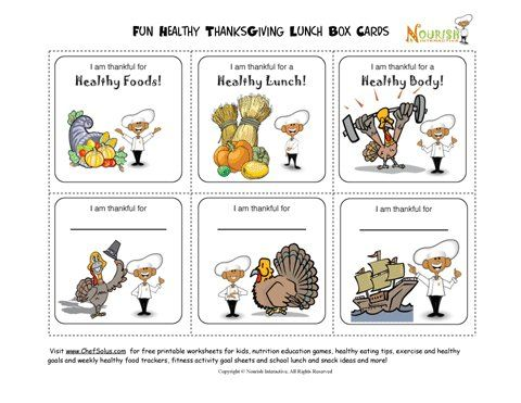 Free Healthy Thanksgiving Message Lunch Notes Printables