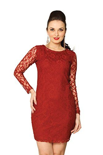 Miss Chase Women's Maroon Floral Round Neck Long Sleeve Mini Bodycon Dress,Maroon,Small - A bodycon dress made of lace - what else does a girl need? STYLE TIP : Pair with drop earrings and stilettos and you're set to paint the town red!