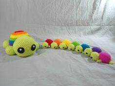Rainbow Mama Turtle - Free Amigurumi Pattern ( Scroll Down after Rainbow Turtles Pattern)  here: http://duchessgala.blogspot.com.es/2013/06/i-like-turtles.html