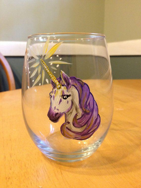 Purple Unicorn Painted Stemless Wine Glass by TheWhiteSquirrelNE