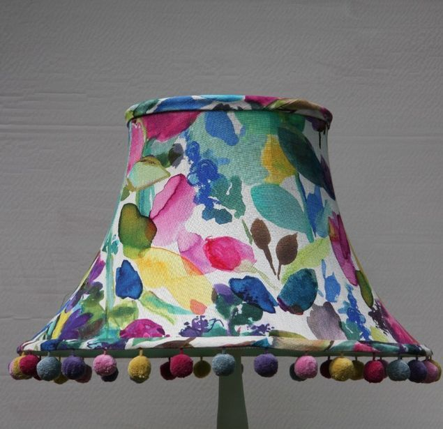 Floral Lampshade-Bluebellgray with PomPoms