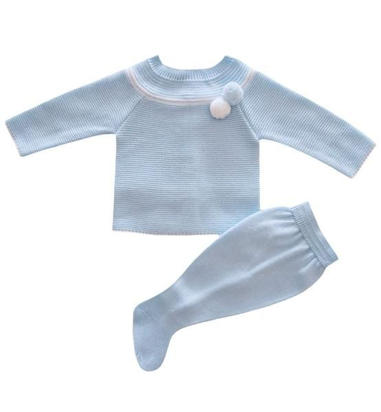 Spanish baby clothes | baby knitted sets | Pale blue & white knitted set |babymaC - 1