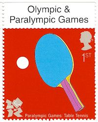 Royal Mail released their second set of commemorative stamps for the 2012 Olympic Games in London, UK. Designed by Michael Craig Martin it shows a table tennis bat and ball.