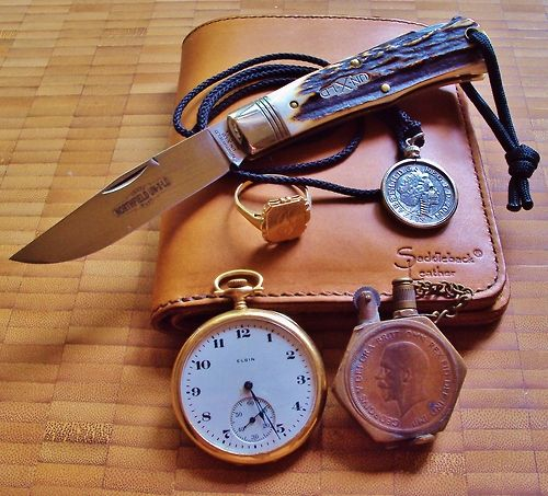 Great Eastern Cutlery #72 Northfield Un-X-LD Cody Scout 1930's 14k Gold Family Ring 10 Pence Skeletonized Coin Saddleback Large Leather Bi-Fold  1930's Elgin Gold Watch 1940's Trench Art Lighter