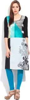 Ladies, Mens and Kids Fashion at Best Price: Rs. 659 W for Woman Black Blue Printed Woman Strai...