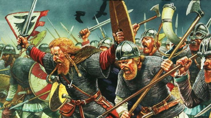 Viking Hirdmen (heavy infantry mustered from the wealthier members of Viking society) likely of the 900-1100 CE.