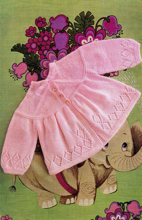 """Vintage 70's Knitted """"BABY"""" Matinee Coat - PDF Pattern - UK"""