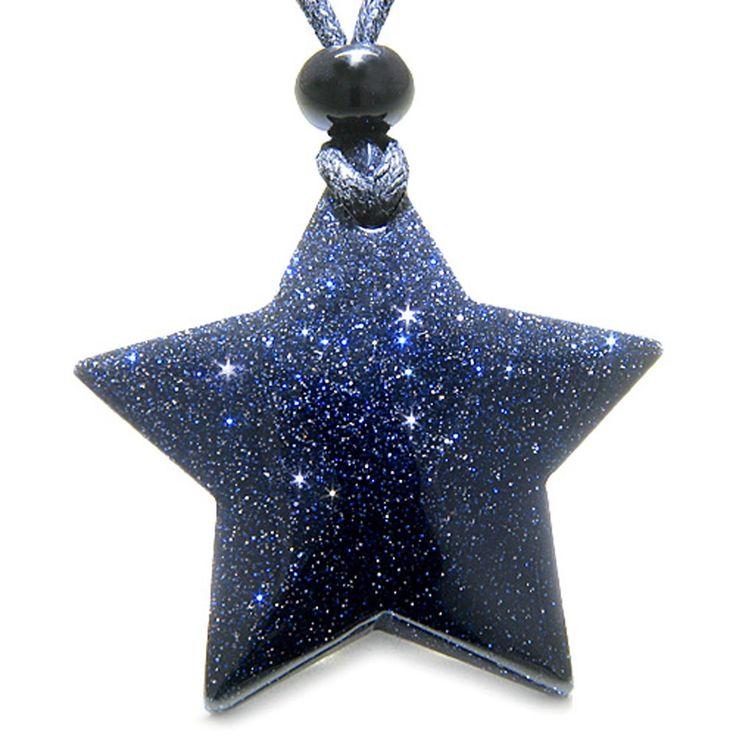 AmazonSmile: Amulet Magic Five Pointed Super Star Crystal Blue Goldstone Good Luck Necklace: Blue Goldstone Pendant: Clothing